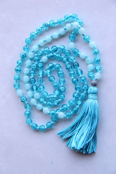 Blue Crackles  - Long Knotted mixed Blue Mala Necklace with Blue Cotton Tassel