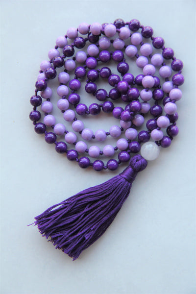 Knotted Long Mixed Beads Mala Necklace with Cotton tassel - V