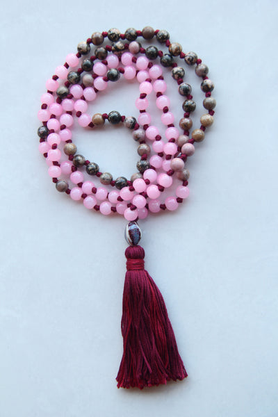 Knotted Long Pink Rhodonite and Glass Beads  Mala Necklace with Cotton tassel