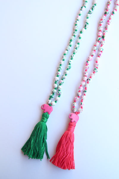 Long Knotted 108 Mala Necklace with Cotton Tassel