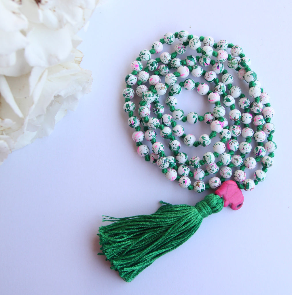 Long Knotted Mala Necklace w/ Green Cotton Tassel Pink Elephant Guru Bead
