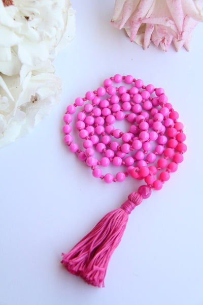 Long Knotted Hot Pink Mala Necklace with Pink Cotton Tassel - II