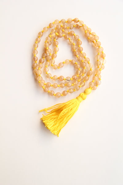 Long Knotted Citrine Mala Necklace with Yellow Cotton Tassel - III