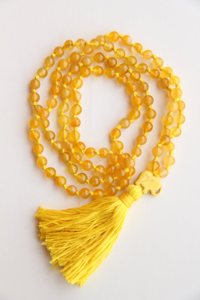 Long Knotted Citrine Mala Necklace with Yellow Cotton Tassel - II