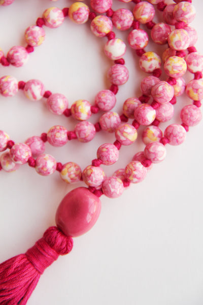 108 Mala Beads - Long Knotted Mala Necklace - Pink & Yellow Agate - Yoga Gift - Meditation Staple