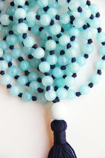 108 Long Knotted Matte Angelite Mala Necklace with Cotton Tassel II