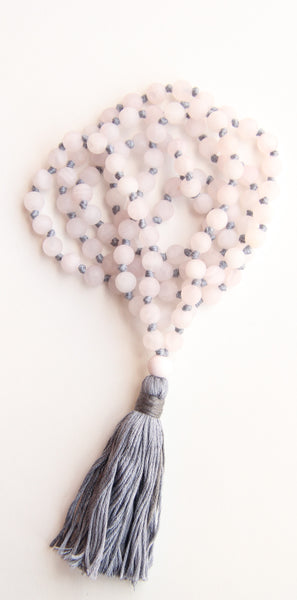 Knotted Long Frosted Rose Quartz Mala Necklace with Pink Cotton tassel