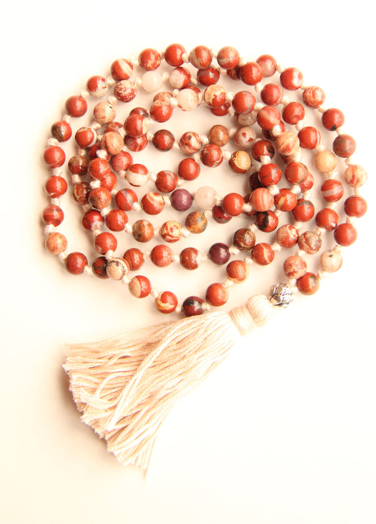 108 Mala Beads - Long Knotted Mala Necklace - Fiery Brown Agate - Yoga Gift - Meditation Staple