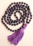 Knotted Blue Sandstone Beads Long 108 Mala Necklace w/ Purple Tassel for Yoga & Meditation - I