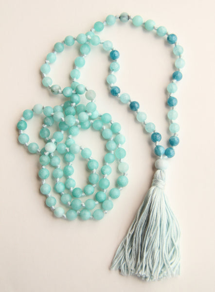 108 Long Knotted Matte Amazonite Mala Necklace with Cotton Tassel II