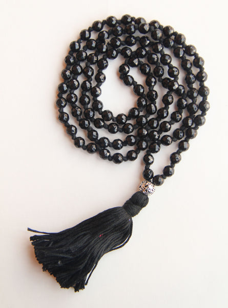108 Mala - Men's Mala - Long Knotted Black Onyx Mala Necklace With Cotton Tassel
