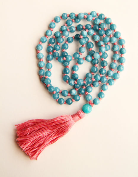 108 Long Knotted Matte Angelite Mala Necklace with Cotton Tassel III