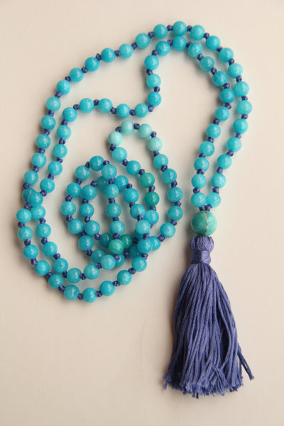 108 Long Knotted Matte Angelite Mala Necklace with Cotton Tassel I