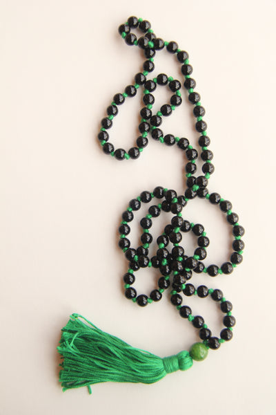 Knotted Long Black Onyx Mala Necklace with Green Cotton tassel - II