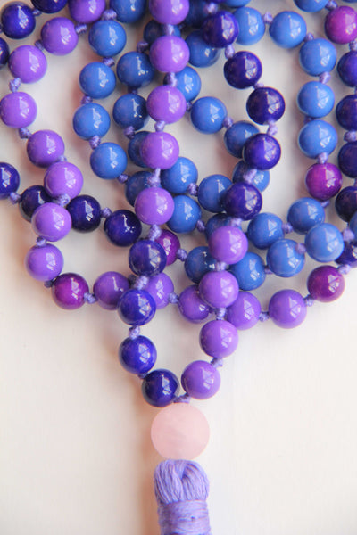 108 Shades of Violet Glass Beads Mala necklace with Cotton Tassel