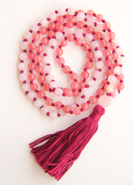Knotted Long Rose & Cherry Quartz and Mala Necklace with Cotton tassel
