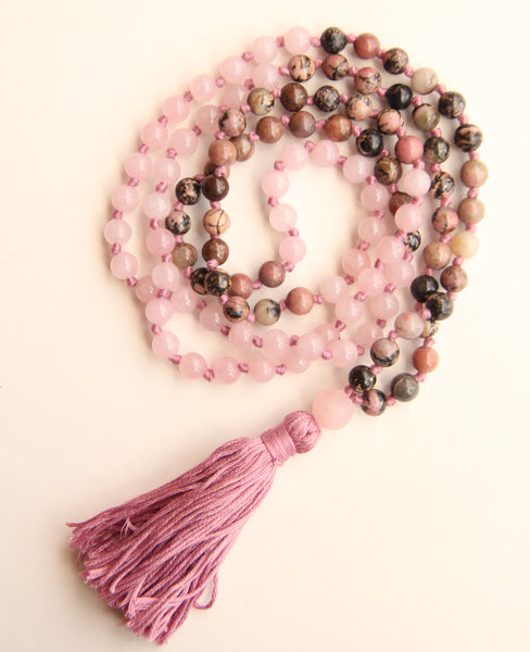 Knotted Long Rose Quartz and Pink Rhodonite  Mala Necklace with Cotton tassel - II