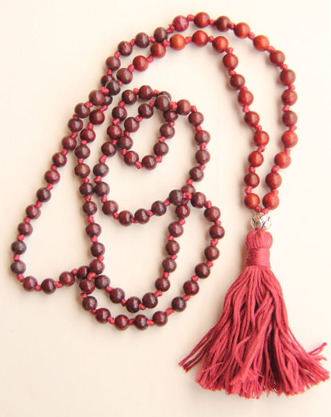 Long Knotted Rosewood Lotus Mala Necklace with Cotton Tassel for Yoga & Meditation
