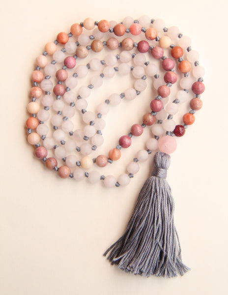 Knotted Long Frosted Rose Quartz + Rhodonite Mala Necklace with Gray Cotton tassel