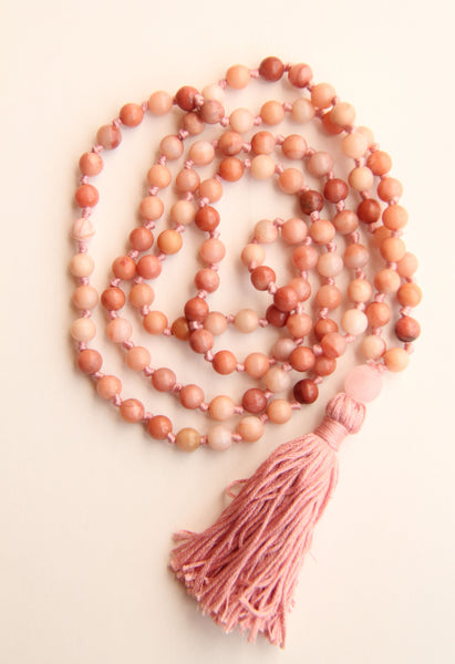 108 Mala Beads - Long Knotted Mala Necklace - Pink Rhodonite - Yoga Gift - Meditation Staple