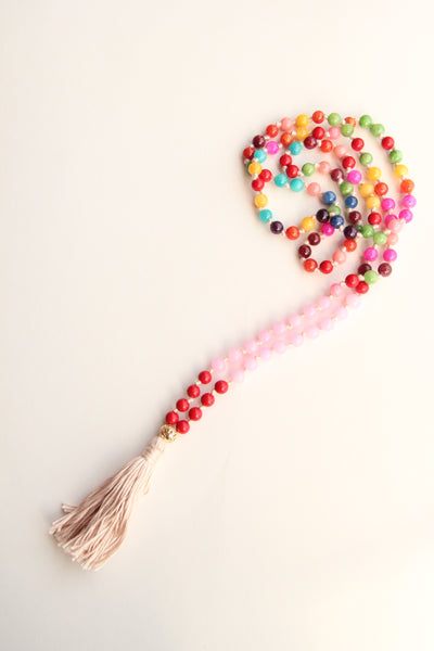 108 Mala Beads - Long Knotted Mala Necklace - Rainbow Pearline agate II