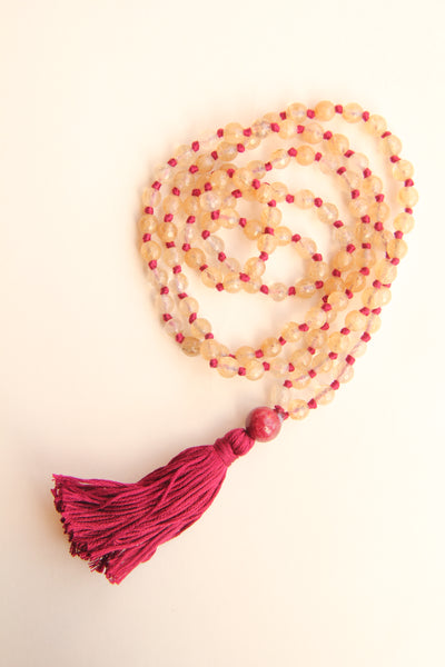 108 Knotted Long Smokey Quartz Mala Necklace with Cotton tassel - II
