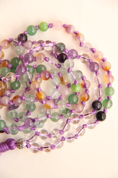 108 Mala Beads - Long Knotted Amethyst Bead Mala Necklace - Yoga Gift - Meditation Staple
