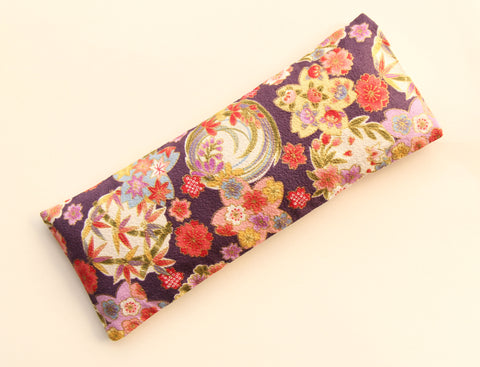 Eye Pillow with Washable Cotton Pillow Cover - Purple Florals