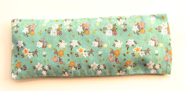 Organic Flaxseed Filled Yoga Eye Pillow with washable cover - Florals on Green Fabric