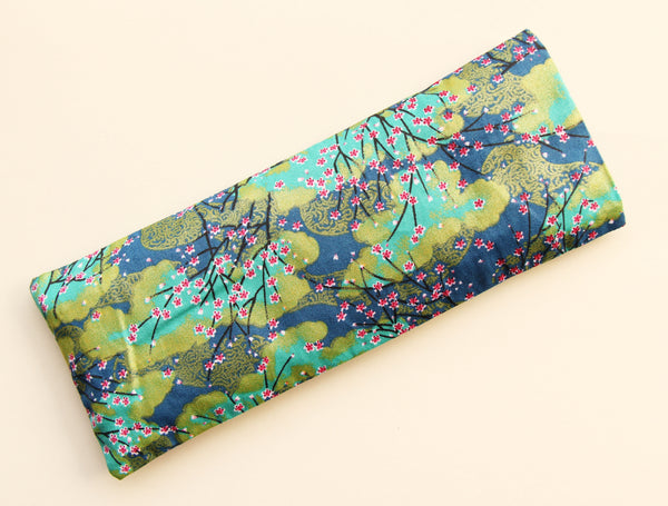 Organic Flaxseed Filled Yoga Eye Pillow with washable cover - Blue Blossoms