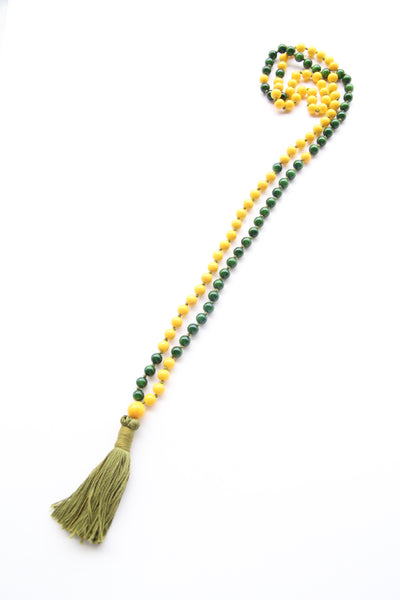 Long Knotted Yellow & Green Mala Necklace with Purple Cotton Tassel