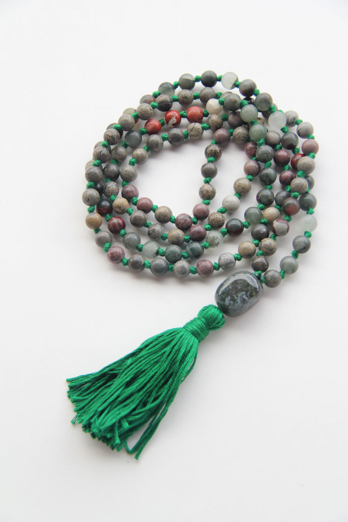 108 Mala - African Bloodstone - Long Knotted Mala Necklace