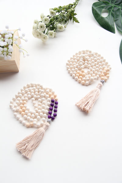 Long Knotted Cream-Purple Mix Mala Necklace with Cream Coloured Cotton Tassel