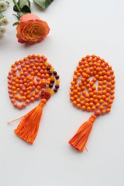 Long Knotted Orange Mala Necklace with Orange Cotton Tassel - I