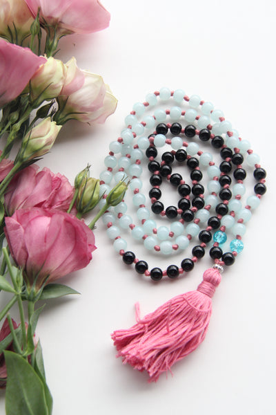 Knotted Long Black Onyx & Blue Glass Beads Mala Necklace with Cotton tassel - III