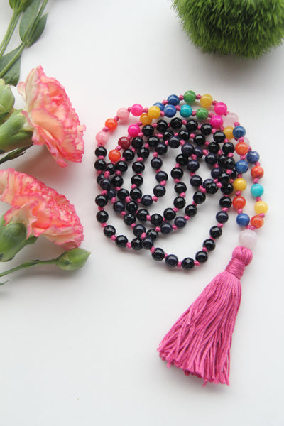 Knotted Long Black Onyx & Rainbow Quartz Mala Necklace with Cotton tassel - II