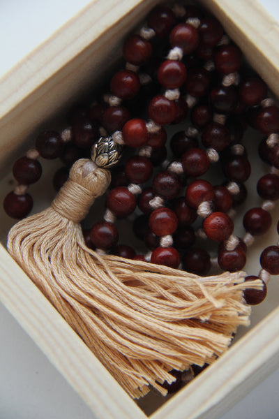 Long Knotted Rosewood Lotus Mala Necklace with Cotton Tassel for Yoga & Meditation - Cream