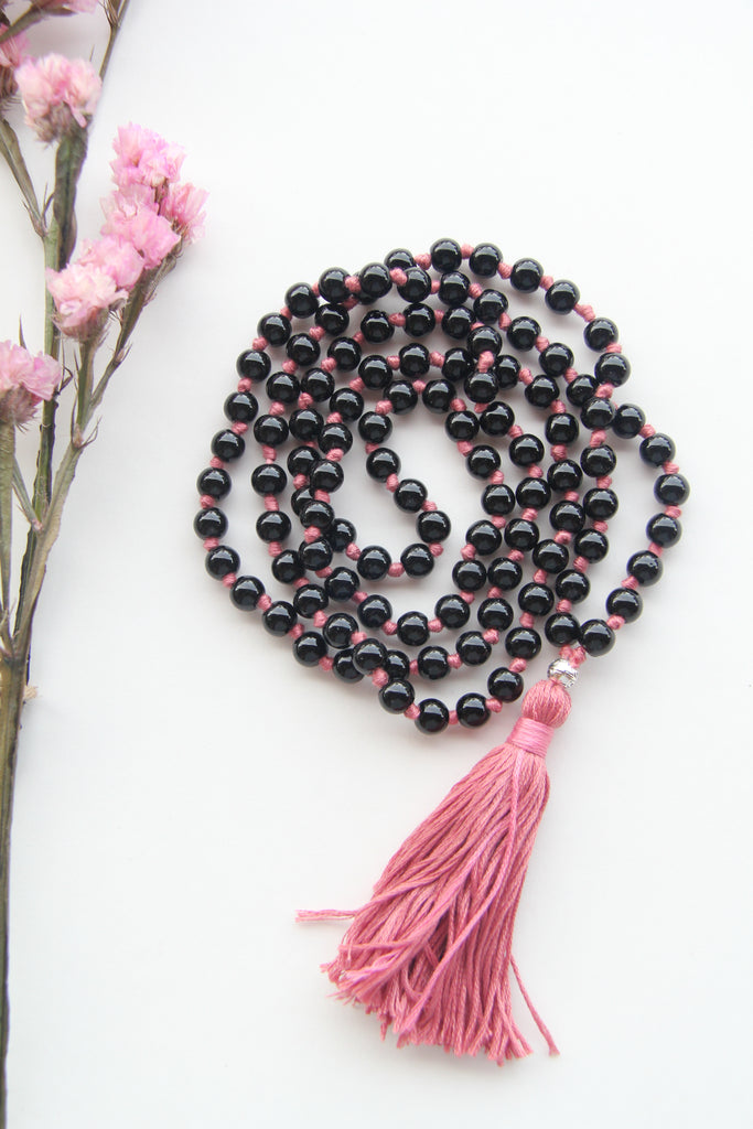 Knotted Long Black Onyx Mala Necklace with Pink Cotton tassel - I