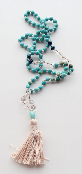 Knotted Mix Clear Quartz and Turquoise Semi Precious Beads Long Mala Necklace w/ Cotton Tassel for Yoga & Meditation