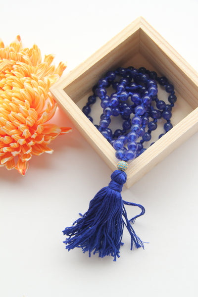 108 Knotted Long Blue Quartz Mala Necklace with Cotton tassel