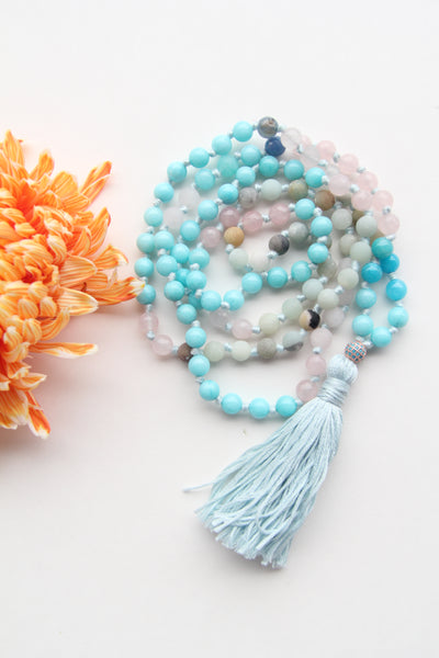 108 Long Knotted Mixed Rose Quartz, Glass and Turquoise Mala Necklace with Cotton Tassel