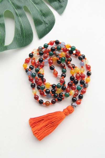 Long Knotted Orange Mala Necklace with Orange Cotton Tassel - II
