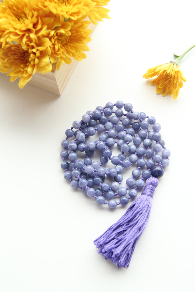 Knotted Blue Sandstone Beads Long 108 Mala Necklace w/ Indigo Tassel for Yoga & Meditation - II