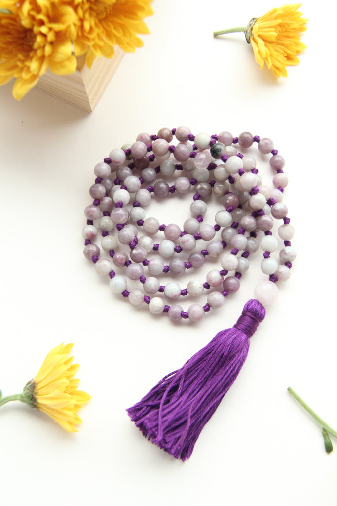 Knotted Lilac Sandstone Beads Long 108 Mala Necklace w/ Indigo Tassel for Yoga & Meditation - IV