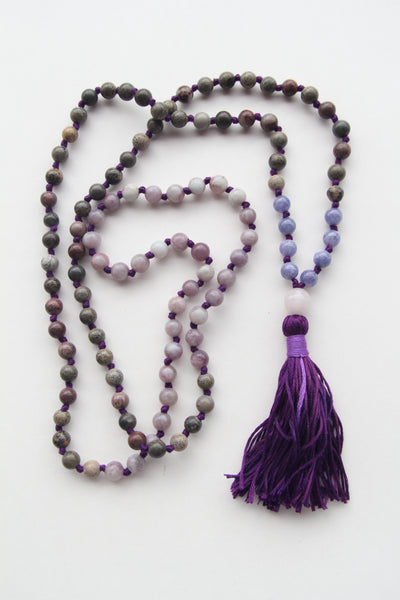 Knotted Mix Blue & Lilac Sandstone Beads Long 108 Mala Necklace w/ Purple Tassel for Yoga & Meditation - III