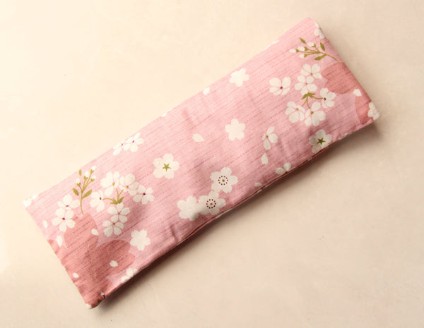 Therapeutic Flaxseed Filled Yoga Eye Pillow Savasana Aid - Cherry Blossoms II