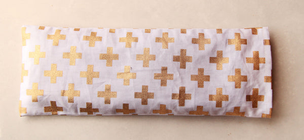 Therapeutic Flaxseed Filled Yoga Eye Pillow - Gold Crosses