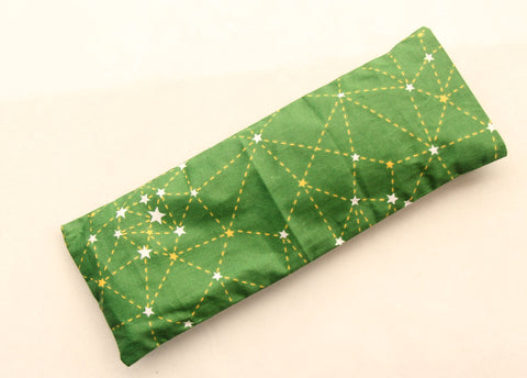 Flaxseed Filled Yoga Meditation  Eye Pillow Pranayama Aid - Green Geometrics