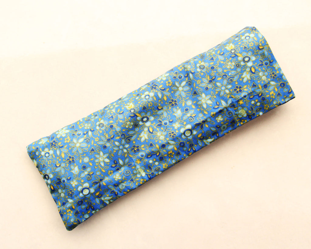 Organic Flaxseed Filled Yoga Eye Pillow with washable cover - Something Blue