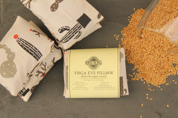 Organic Flaxseed Filled Yoga Eye Pillow with washable cover - Cacti